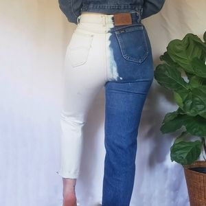 Custom Vintage Two Tone High Rise Lee Mom Jeans 29